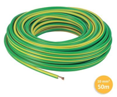 Câble 1 fil de mise à la terre - 1x10mm² - Vert/Jaune - 50 mètres