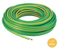 Câble 1 fil de mise à la terre - 1x6mm² - Vert/Jaune - 50 mètres